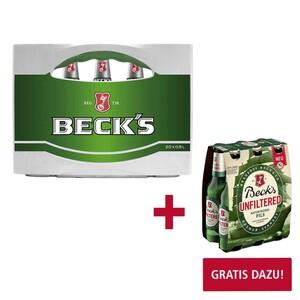Beck's 20 x 0,5/24 x 0,33 Liter, jeder Kasten (+ 3,10/3,42 Pfand) 1 Packung Beck's Unfiltered à 6 x 0,33 Liter im Wert von 4,99 NEBEN DER WARE (+ 0,48 Pfand)