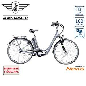 Alu-Elektro-Fahrrad Green 3.7 26er oder 28er • Fahrunterstu?tzung bis ca. 25 km/h, 5 Unterstu?tzungsstufen • Li-Ionen-Akku 36 V/10,4 Ah, 374 Wh • Reichweite: bis zu 115 km (je nach Fahrweise