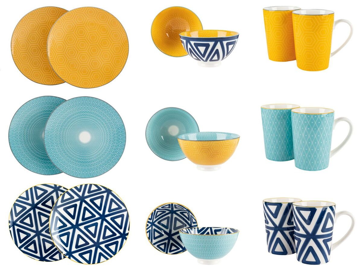 Bild 1 von ERNESTO® Porzellan Geschirr, 2-teilig, mit Muster