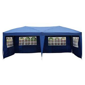 Outsunny Faltpavillon inklusive 4 Seitenteile blau/weiß/transparent