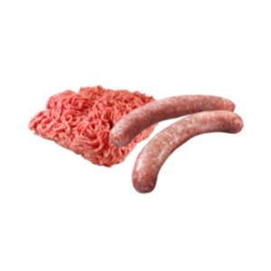 Deutsche frische Bratwurst, Schweinehack, Mett