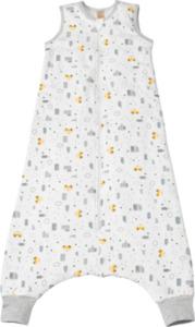 PUSBLU Kinder Schlafsack 3 TOG, 110 cm, in Bio-Baumwolle und recyceltem Polyester, weiß, gelb