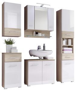 Badezimmer in Weiss/Sonoma Eiche 'Barolo' 5-tlg. mit LED