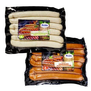 Meister Grillbratwurst, Käsegriller oder Gebrühte Krakauer, jede 400/500-g- SB-Packung