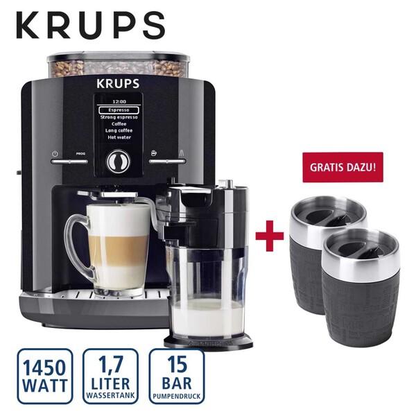 Krups Kaffee-Vollautomat One Touch Cappuccino Latt´Espress EA8298.TC, autom. Milchsystem-Reinigungsprogramm, abnehmbarer Milchbehälter, Claris-Aqua-Filtersystem, Gratis dazu 2 EMSA® Thermobecher T