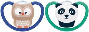 NUK Beruhigungssauger Space Silikon Eule & Panda 18-36 Monate