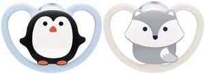 NUK Beruhigungssauger Space Silikon Pinguin & Fuchs 0-6 Monate