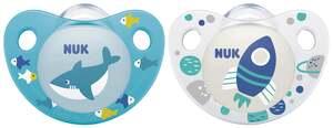 NUK Beruhigungssauger Trendline Silikon Weiß & Blau 0-6 Monate