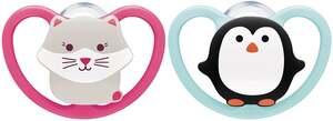 NUK Beruhigungssauger Space Silikon Katze & Pinguin 6-18 Monate