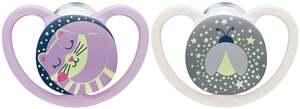 NUK Beruhigungssauger Space Night Silikon Fuchs & Glühwürmchen 0-6 Monate Girl