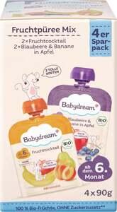 Babydream Bio Fruchtpüree Mix Fruchtcocktail + Blaubeere & Banane in Apfel
