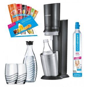 SodaStream Crystal 2.0 Promopack Titan Wassersprudler schwarz schwarz, silber, Grau