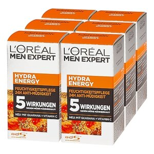 L'Oreal Men Hydra Energy Creme 50 ml, 6er Pack