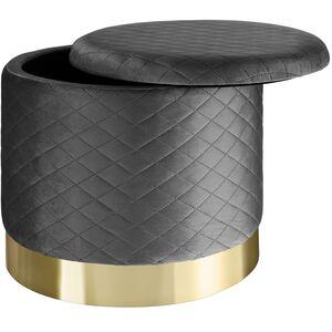 Sitzhocker Coco gepolstert in Samtoptik 300kg mit Stauraum dunkelgrau