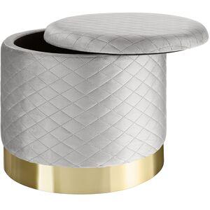 Sitzhocker Coco gepolstert in Samtoptik 300kg mit Stauraum hellgrau