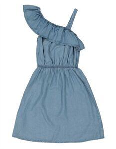 Mädchen Jeanskleid mit gebundenem Saum