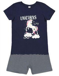 Mädchen Pyjama Set aus Shirt und Shorts - Glitzer-Print