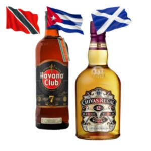 Chivas Regal Scotch,Dimple Golden Selection Scotch Whisky, Havanna Club 7J oder Kraken Spiced Rum