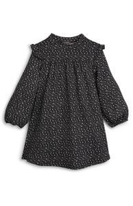 Schwarzes weiches Rüschenkleid mit Muster (kleine Mädchen)