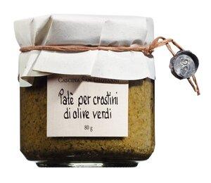 Cascina San Giovanni Paté per crostini di olive verdi - Grüne Olivencreme 80g 0000 - Saucen, Pesto & Chutneys, Italien, 0.0800 kg