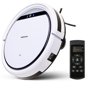 MEDION Saugroboter MD 19511, systematische Navigation, bis zu 100m², Hinderniserkennung, saugt unter Möbeln (8cm), Tierhaar und Allergiker optimiert, 90 Min. Laufzeit, Programmierfunktion, Modell 2