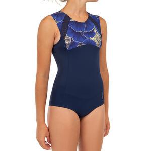 Badeanzug Surfen Manly 900 Shibu Mädchen blau/schwarz