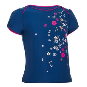 Tankini-Top Kleinkinder Mädchen Blumen-Print dunkelblau