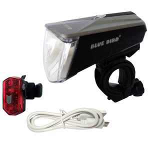Fahrradbeleuchtung Set Front-/Rücklicht Bluebird LED 80/40/15 LUX USB
