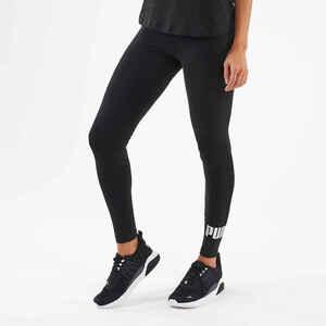Leggings Fitness Baumwolle Damen schwarz mit silberfarbenem Logo