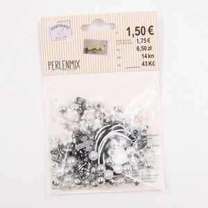 Bastelperlen Set 30 g Wachsperlen Deko Perlen DIY silber