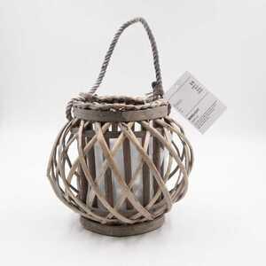 Laterne Windlicht Kerzenhalter Rattan mit Glaseinsatz Weide 23 x 20 cm braun