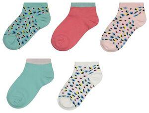 HEMA 5er-Pack Kinder-Socken, Leopardenmuster/Blumen Bunt