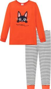 Schiesser Single-Jersey Kinder-Schlafanzug Natural Love  Streifen#Tiermotive langarm#lange Hose 92