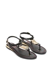 Damen Leder-Sandalen mit Glanzdetails
