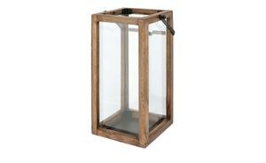 Laterne - holzfarben - Metall, Glas , Holz - 16 cm - 35 cm - 16 cm - Dekoration