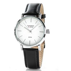Falkenberg & Söhne Elegante Armbanduhr, ca. 40 mm Ø, Schwarz/Weiß