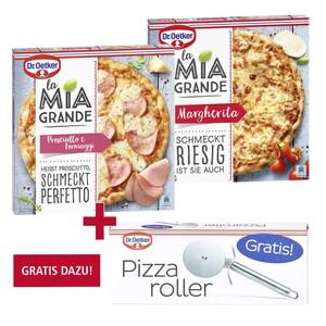 Dr. Oetker La Mia Grande Margherita oder Prosciutto e Formaggi ? ? ?, gefroren, jede 360/400-g-Packung und weitere Sorten, Gratis dazu beim Kauf von 2: Dr. Oetker Pizzaroller im Wert von 3,99 €, NE