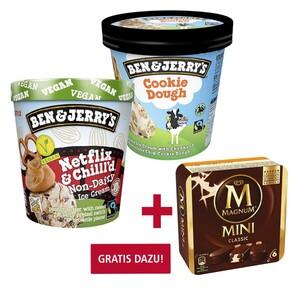 Ben & Jerry's Eiscreme, Lighten-Up! moo-phoria! oder Non-Dairy Eiscreme ? ? ?, versch. Sorten, jeder 465-ml-Becher, Gratis dazu beim Kauf von 2: Multipackung Langnese Magnum à 4er, 6er Minis, 3er