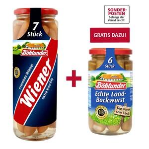 Böklunder Premium Wiener jedes 7er = 330-g-Glas, Gratis dazu beim Kauf von 2: 1 Glas Böklunder Land-Bockwurst 6er/180 g im Wert von 1,89 €, NEBEN DER WARE