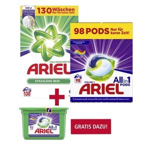 Ariel Waschmittel Pulver oder Flüssig 130 Waschladungen oder All-in-1-Pods 98 Waschladungen, versch. Sorten, Gratis dazu: 1 x Ariel All-in-1-Pods 14/15 Waschladungen im Wert von 5,49 €, NEBEN DER