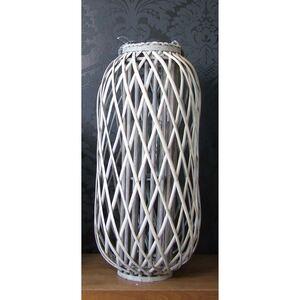 Bambuslaterne mit Glaswindlicht 29x70cm