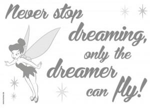 Deco-Sticker Never stop dreaming ca. 50 x 70 cm