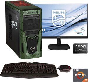 Hyrican »Military Gaming 6478 + Philips 243V7Q« PC-Komplettsystem (24 Zoll, AMD Ryzen 5, GTX 1660 SUPER, 16 GB RAM, 1000 GB HDD, 480 GB SSD)