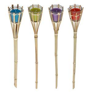 Bambus-Fackel mit Glaseinsatz und bunter Wachsfüllung 77cm