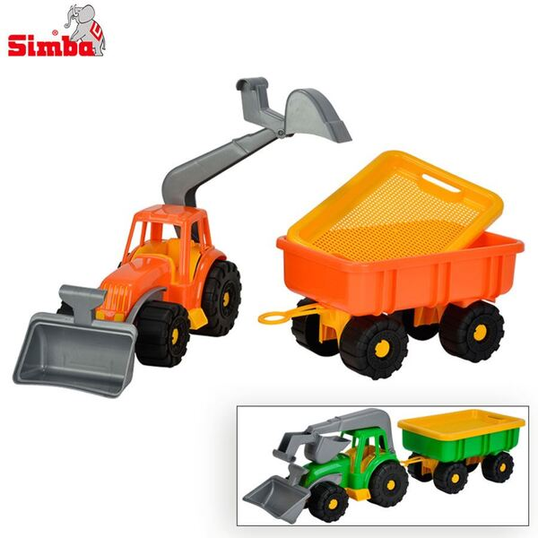 Simba Spielzeug-Traktor mit Schaufel und Anhänger