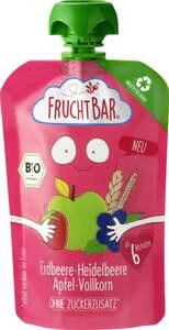 FruchtBar Bio Fruchtpüree Erdbeere, Heidelbeere, Apfel, Vollkorn