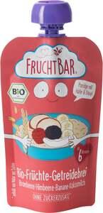 FruchtBar Bio-Früchte-Getreidebrei Brombeere, Himbeere, Banane, Kokosmilch 120g, Zutaten aus ökologi