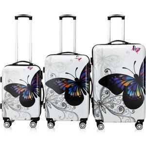 Deuba Butterfly Hartschalenkofferset, Mehrfarbig