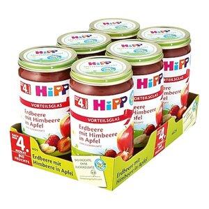 HiPP Bio Erdbeere mit Himbeere in Apfel 250 g, 6er Pack