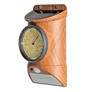 MAXXMEE Solar-Leuchte Thermometer Holzoptik 3,7V braun mit Bewegungsmelder